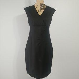 Sz 6 Dress Ted Baker London Black Stretch Wool LBD